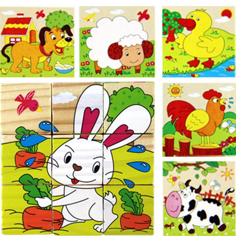 Детские шесть стороны животных/фрукты шестигранные головоломки 9 шт/комплект 3d овощей деревянные головоломки обучения Игрушечные лошадки ...