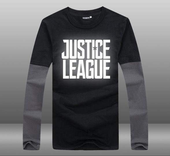 eba8b634f0c32 Mens Casual 2017 Movie Justice League Logo Superhero Long Sleeve Contrast  Color T-shirt Tops