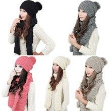 Мода Случайные Зимняя Шапка Шарф Симпатичные Вязания Крючком Шапочки Cap шляпы Для Женщин Теплый Шарф И Шапка Вязаная Шапка Твист JL