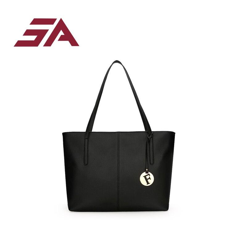 Sac à main femme SA uni noir blanc couleur sac à bandoulière Durable toile décontracté fourre-tout grande capacité sac à provisions sac à main 3 ensembles - 2