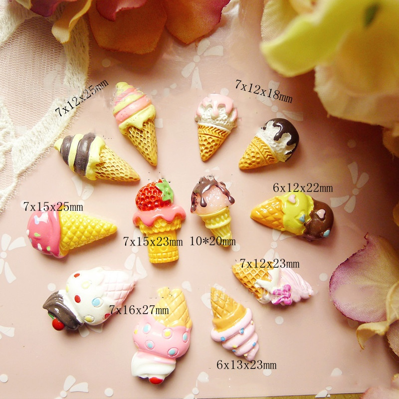 Hot Sale 30pcs/bag mixed fancy icecream Flatback Resin Buttons multi colors DIY Craft Jewelry cell phone Decoration YM30