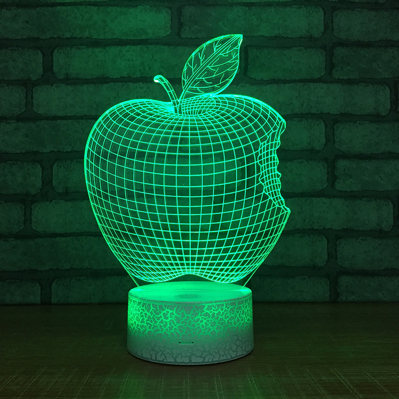 Apple 3D LED Table Lamp Touch Colorful 7 Color Change Acrylic Night Light Kids Christmas Gifts