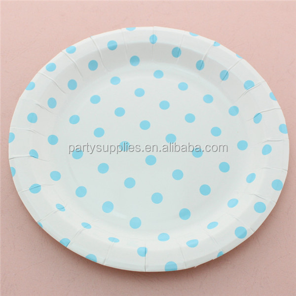 Free Shipping 120pcs Party Paper Plates Baby Blue Color Paper Plate 9\  Round Polka Dot & Free Shipping 120pcs Party Paper Plates Baby Blue Color Paper Plate ...