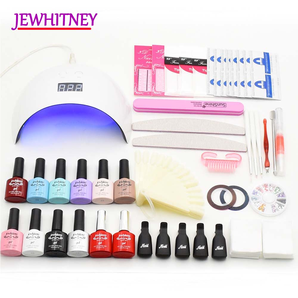Nail Gel Polish Nail Set UV LED Lamp Manicure Kit Gel Polish Kit UV Extension Gel Kits Manicure tools Set Nail Art Sets em 128 free shipping uv gel nail polish set nail tools professional set uv gel color with uv led lamp set nail art tools