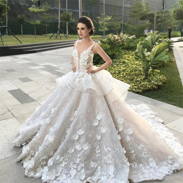 3d floral peplum ruffles princess garden wedding dresses 2017 church 3d floral peplum ruffles princess garden wedding dresses 2017 church train arabic dubai modest lace luxury junglespirit Choice Image