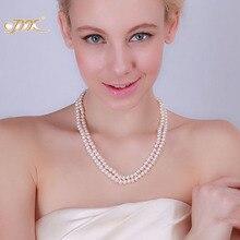 JYX Classic ორმაგი მწკრივი ახლოს მრგვალი თეთრი ვარდისფერი მტკნარი წყლის კულტივირებული მარგალიტი ყელსაბამი წვეულება საქორწილო დედა საჩუქრები