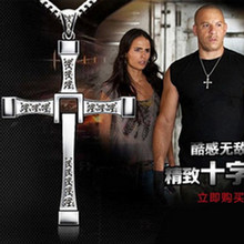 Fast and Furious 7 Movie Cross Tourette Necklace Dominic Toretto Cross Gold & Silver Plated Pendant Stainless Necklace ACS155(China)