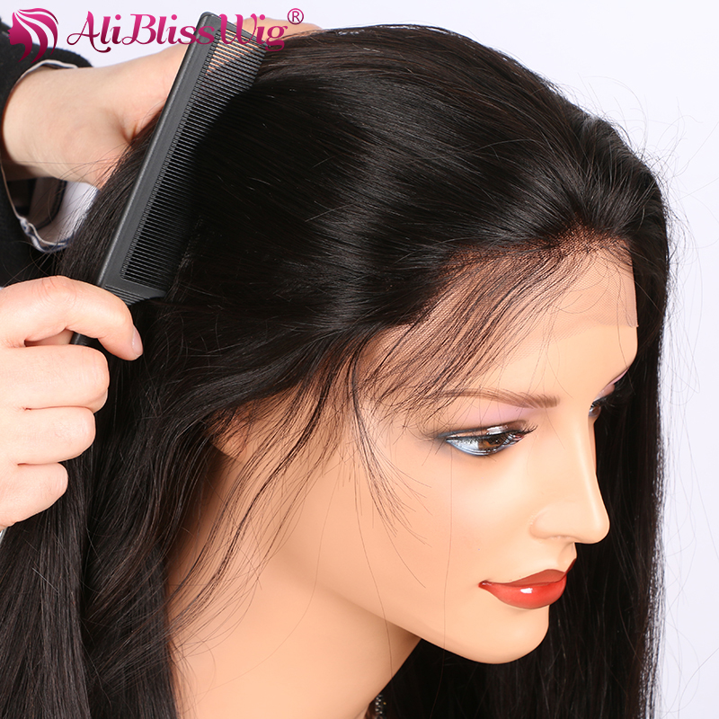 AliBlissWig Silk Straight Human Hair Lace Front Wigs Black Women 150% Density Natural Color Brazilian Remy Wigs With Baby Hair (5)