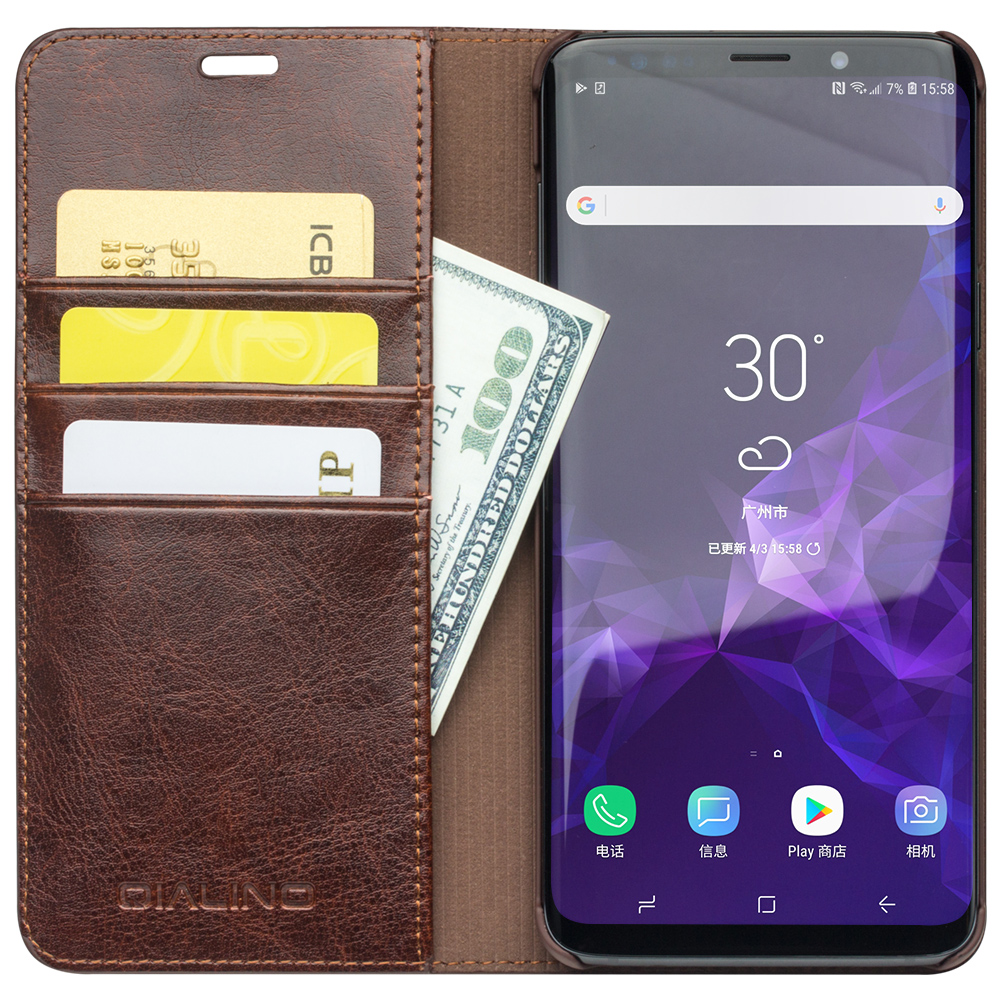 QIALINO Genuine Leather Flip Cover for Samsung Galaxy S9 Plus Wallet Card Slots Ultra Thin Fashion Bag Phone Case for Samsung S9