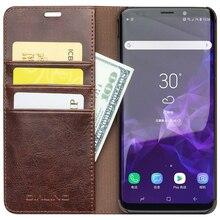 QIALINO Véritable En Cuir Housse pour Samsung Galaxy S9 Et Fentes pour Cartes De Portefeuille Ultra Mince Mode Sac Téléphone étui pour Samsung S9