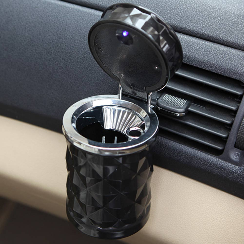 Luxury Black Auto Accessories Illuminated Ash Bin Car Ashtray Cigarette Led Light Cigarette Cylinder Holder Easy Clean
