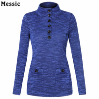Women S Spring Knit Stand Neck Pullover Slim Fit Button Tunic Shirt Women Vintage Long Sleeve