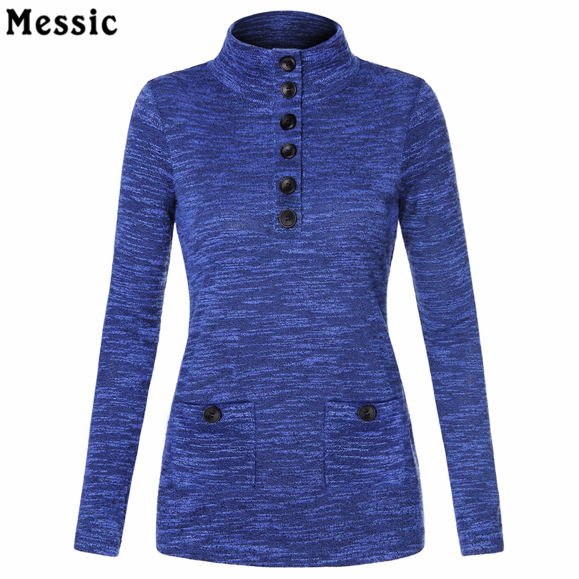 Weizisong Store Women's Spring Knit Stand Neck Pullover Slim Fit Button Tunic Shirt Women Vintage  Long Sleeve Tops Ladies Work Elegant Blouse
