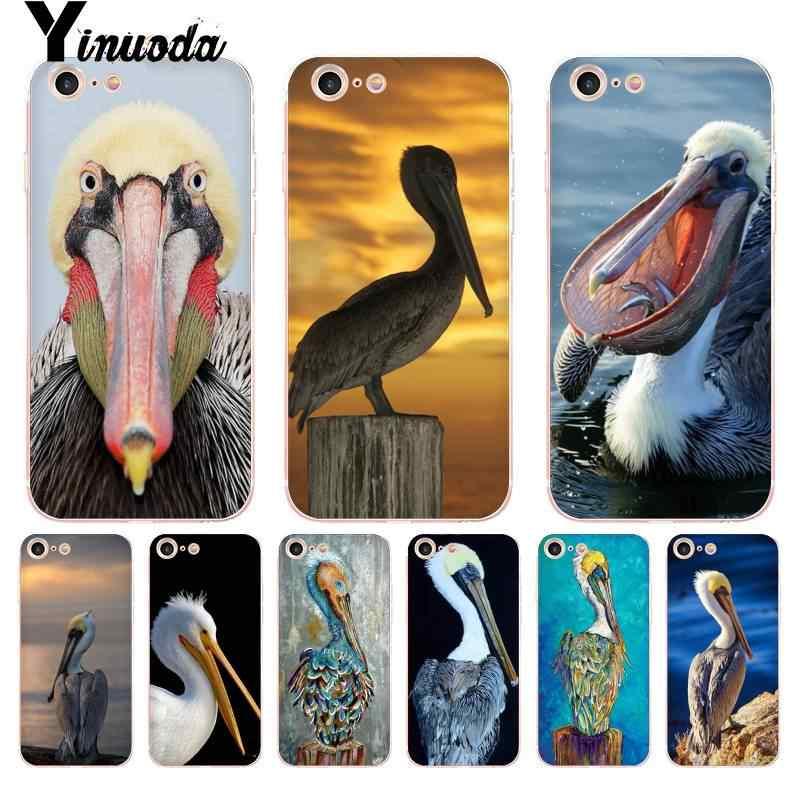 Yinuoda Voor iphone 7 6 X Case Dier Vogel Pelikaan Coque Shell Telefoon Case voor iphone 8 7 6 6S Plus X 5 5S SE XR XS XSMAX