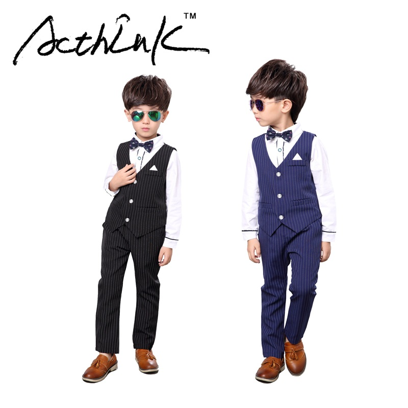 ActhInK 2017 New Boys 3PCS Vest+Shirt+Pant Striped Solid Formal Dress Suit with Bowtie & Belt Brand Kids Formal Party Suit,MC077 acthink new boys summer formal 3pcs shirt shorts waistcoat suit children england style wedding suit with bowtie for boys zc033