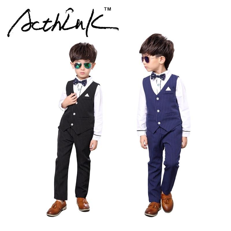 ActhInK 2017 New Boys 3PCS Vest+Shirt+Pant Striped Solid Formal Dress Suit with Bowtie & Belt Brand Kids Formal Party Suit,MC077