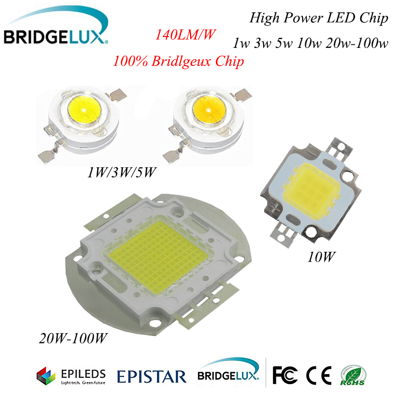1Pcs High Power Bridgelux LED Chip 3W 5W 10W 20W 30W 50W 100W SMD LED Lamp COB White / Warm White for Floodlight Spotlight high quality 730nm 740nm ir led chip 10w 20w 30w 50w 100w led lamp epileds led chip for detecting sensor laser flashlight