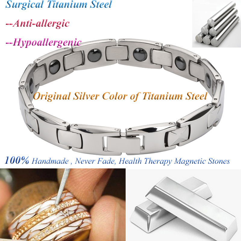 2019 Fashion man Bangles bracelets for men bijoux titanium 316L stainless steel Jewelry charm therapy magnetic bracelet (5)