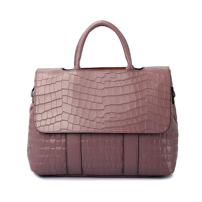 แท้ผู้หญิงรูปแบบจระเข้กระเป๋าถือหนังวัวแท้ผู้หญิงร้อนขายกระเป๋าถือผู้หญิงขนาดใหญ่กระเป๋าสะพายสีเขียว-ใน กระเป๋าสะพายไหล่ จาก สัมภาระและกระเป๋า บน   2