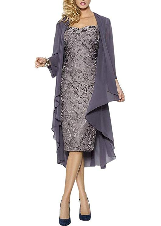 Knee-Length Mother of The Bride Dresses With Chiffon Shawl Formal Dresses Custom Plus Size Mother Of The Bride(China)
