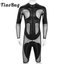 TiaoBug Mens Black Faux Leather Mesh Splice Long Sleeve Zipper Soft Boxer Shorts Leotard Bodysuit Sexy Men One piece Jumpsuit