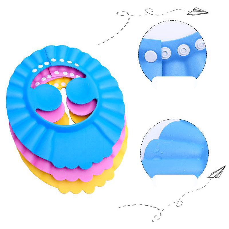 Image 5 - 1PCs Baby Kids Shampoo Bath Bathing Shower Cap Hat With Ear Wash   For Kid Shower Accessory Safe Soft Hat Adjustable-in Shower Caps from Home & Garden