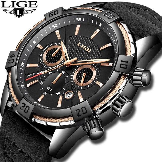 LIGE montres pour hommes Top marque de luxe décontracté en cuir étanche montre à Quartz hommes chronographe sport horloge Relogio Masculino