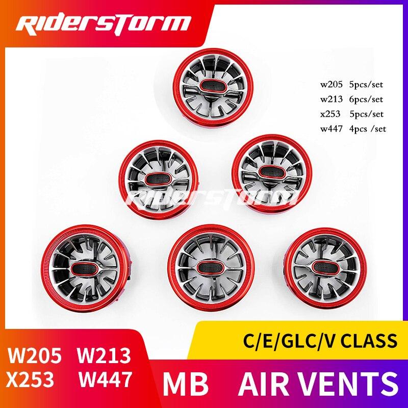 Per w205 w213 X253 classe C C200 C180 classe E E43 E450 GLC classe w447 v classe parti air vent argento/rosso aria condizionata vents