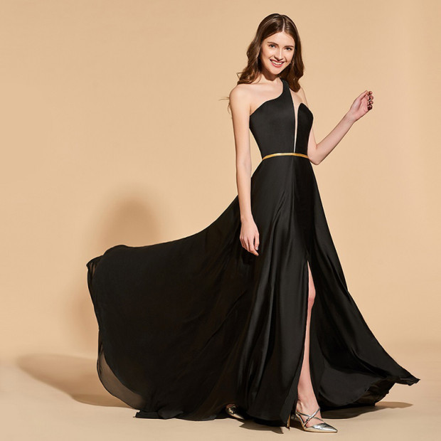 Tanpell one shoulder split front prom dresses black floor length a line dress women empire formal evening plus custom gown