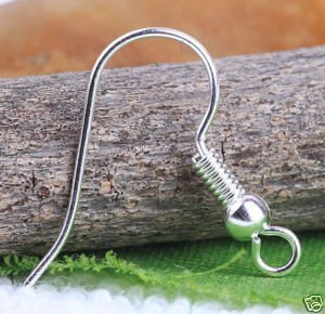 Silver Plated Ear Wire Hooks With Coil/Bead a2351