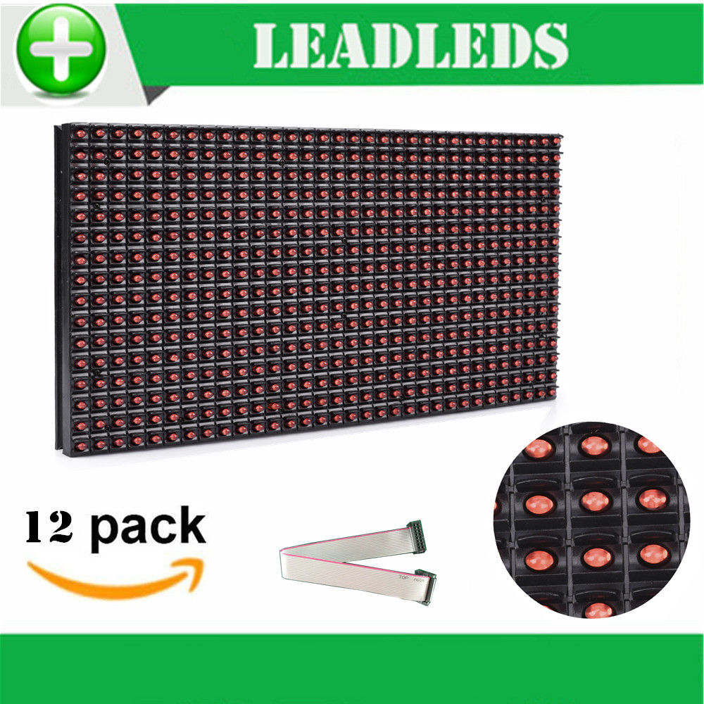 (12 Pieces/lot) 320*160mm 32*16pixels P10 Outdoor Waterproof Red Led Module For Single Red Color P10 Led Message Display Module