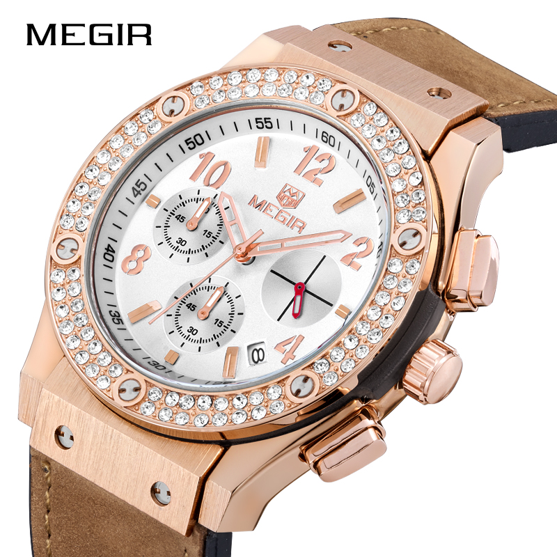 MEGIR Women Luxury Top Brand Quartz Wristwatches Waterproof Casual Dress Watch Fashion Watches Clock Ladies Relogio Feminino hot sales geneva brand silicone watches women ladies men fashion dress quartz wristwatches relogio feminino gv008