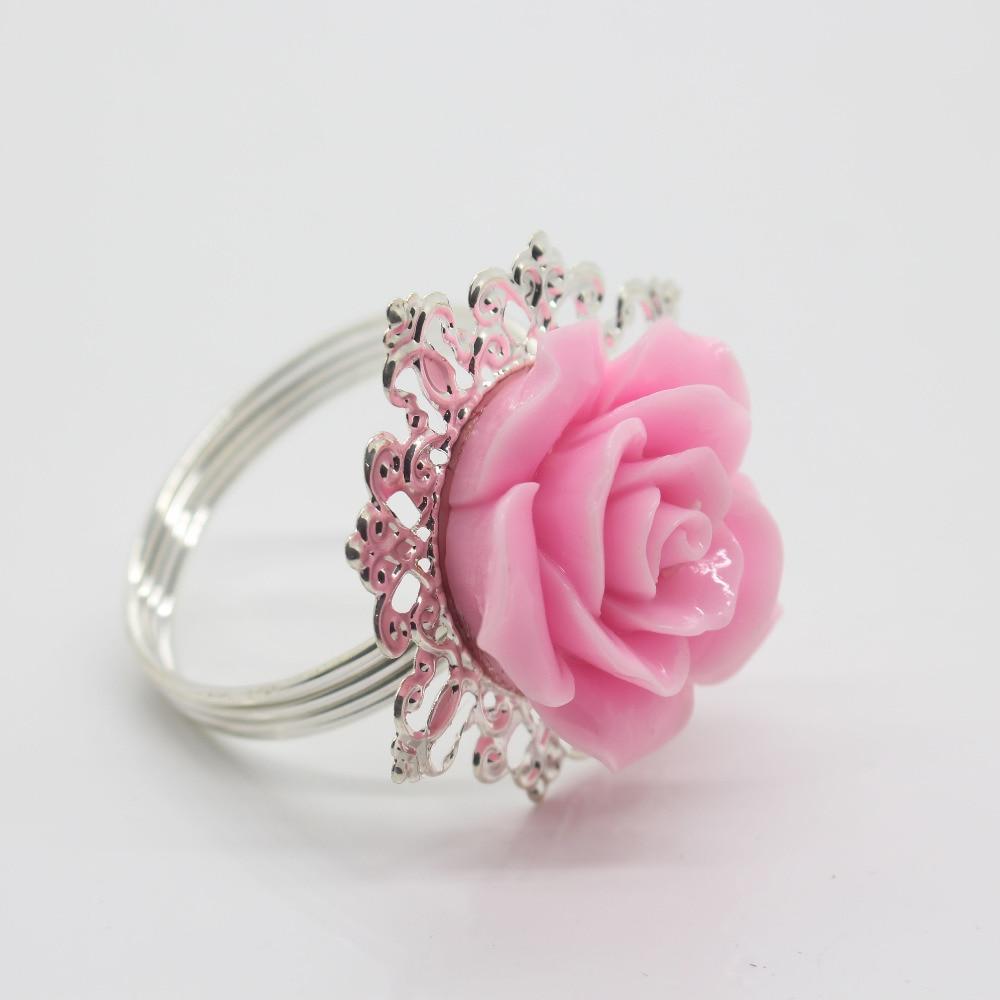 New 10pcs Pink Resin Rose Iron Napkin Ring Party Entertain Wedding ...
