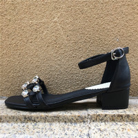 Fashion Ankle Strap Buckle Women Sandals High Heeled Open Toe Rhinestones Thick Platform Summer Shoes Crystal