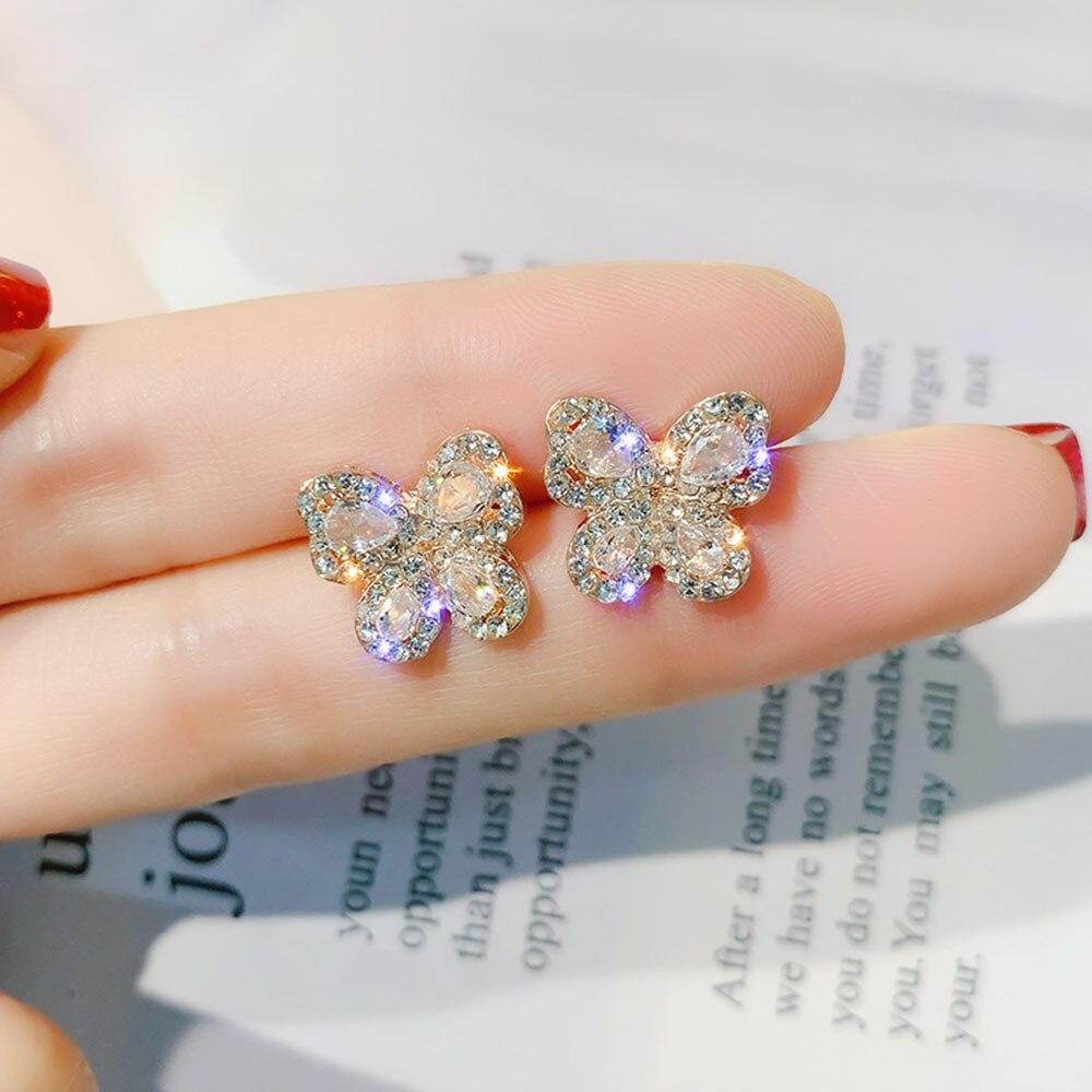 Shiny Crystal Butterfly Stud Earrings Silver Color Needle Sparkling Bow Knot Ear Jewelry Zircon Women Party Luxury Jewelry