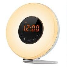 Alarm Clock Sunrise Wake Up Light Snooze Digital Clock FM Radio Bedside Lamp Night Light Memory Function Table Clocks недорого