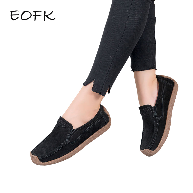 EOFK Women Flats Shoes Woman Casual Flat Shoes Women's Loafers Comfortable Spring Autumn Slip On Ladies Driving Shoes Moccasions eofk women ballet flats women s flat shoes casual cow suede leather loafers shoes woman butter fly slip on solid ladies shoes