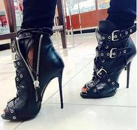 9b1a934148 Hot Selling Black Leather Sexy Buckle Strap High Heel Boots 2019 Woman Peep  Toe Ankle Boots