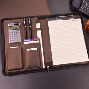 Image 5 - A4 fermuar kıdemli PU deri iş iş yöneticisi çantası konferans dosya klasörü organizatör satış sözleşmesi klasörleri portföyleri 641B