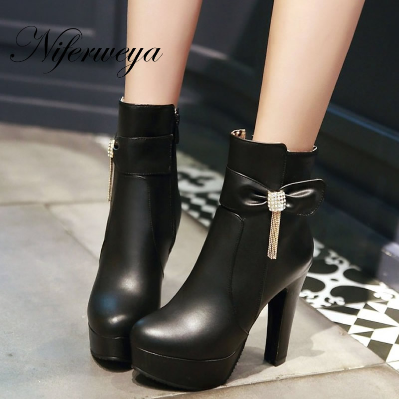 Big size 33-46 Winter women shoes fashion PU short boots sexy Round Toe platform high heel zipper Ankle boots zapatillas mujer big size 33 45 short boots fashion winter red women wedding shoes sexy round toe platform high heels ankle boots zapatos mujer