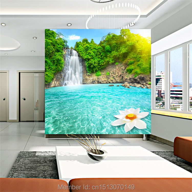 Waterfall and rivers photo wallpaper landscape wall mural for Custom size wall mural