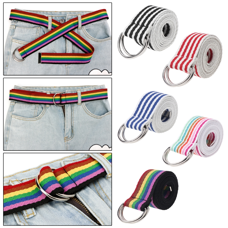 Waist Belt Metal Buckle Double Rings Nylon Canvas Strap Casual Fashion Waistband