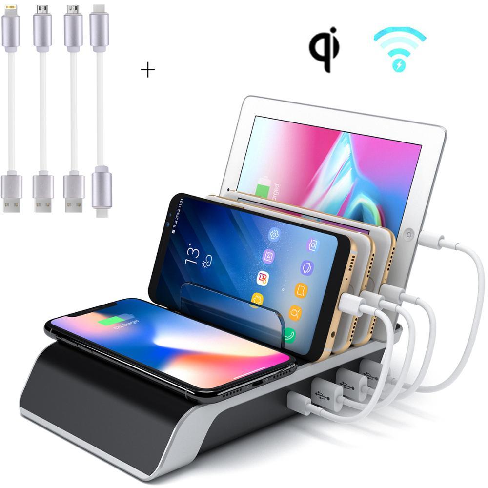 Evfun Station de charge organisateur 5-en-1 chargeur de téléphone Multiple Dock Stand avec 1 chargeur QI sans fil et 4 Ports USB