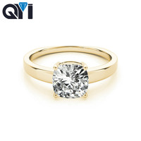 QYI Woman Simulation Diamond Solitaire Ring 14k Yellow gold Engagement Jewelry Wedding Finger Rings For Women