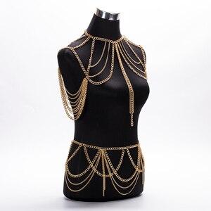 Image 4 - חם 2020 תכשיטים אביזרי פאנק כבד מתכת רב שכבתי ציצית זהב גוף שרשרת ארוך שרשרת הצהרה לנשים