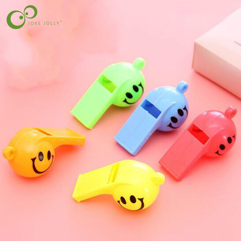 Sports & Entertainment Team Sports By Dhl 5000pcs Soccer Football Or Smiling Face Whistle Cheerleading For Kids Children Color Plastic Whistles Toys With Ropes