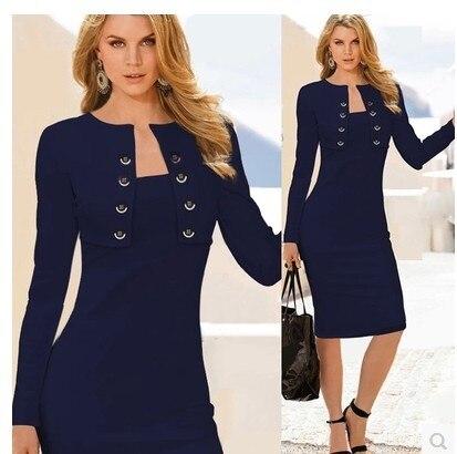 bfa6f95e410c8 أحدث تصاميم فستان عارضة اللباس زائد حجم الملابس النسائية 2015 xl النساء  ملابس العمل جاهزة ضئيلة