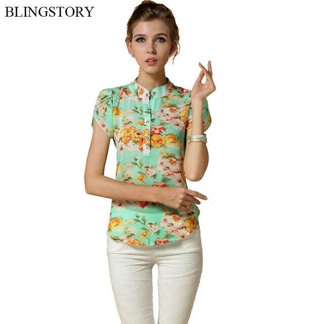 Blingstory Venda Quente Europa Moda feminina manga curta floral imprimir chiffon blusa camisas de verão top S/M/ l/XL/XXL drop-navio