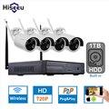 1 TB HDD Kit NVR 4CH Sem Fio Plug and Play P2P 720 P HD visão nocturna do ir ao ar livre sistema de câmera de segurança ip wi-fi cctv registro hiseeu