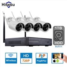 1 ТБ HDD Подключи и Играй 4CH Беспроводной Комплект NVR P2P 720 P HD открытый ИК Ночного Видения Безопасности IP WIFI Камеры ВИДЕОНАБЛЮДЕНИЯ Системы Записи Hiseeu